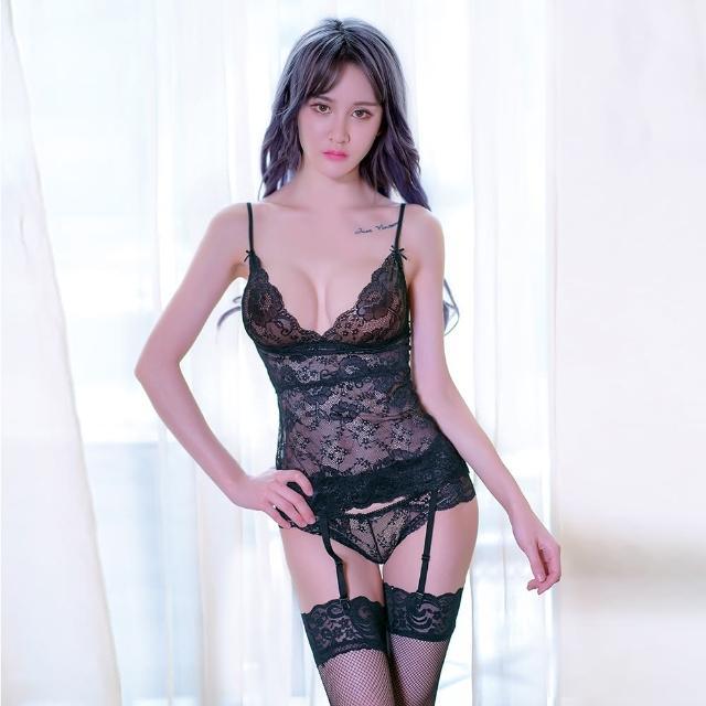 【久慕雅黛】性感花紋透明吊帶連體衣組(黑色)