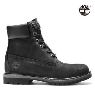 【Timberland】女款黑色絨面厚領綁帶防水6吋靴