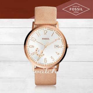 【FOSSIL】時尚精選_皮革錶帶_礦物玻璃_日期星期顯示_指針女錶(ES3751)