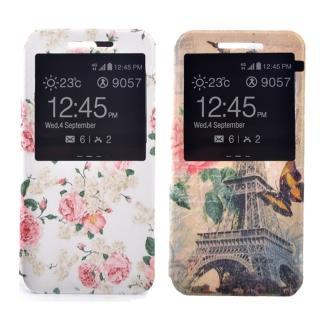 【Samsung】A7 2016 時尚彩繪手機皮套 側掀支架式皮套(鄉村薔薇/巴黎玫瑰)