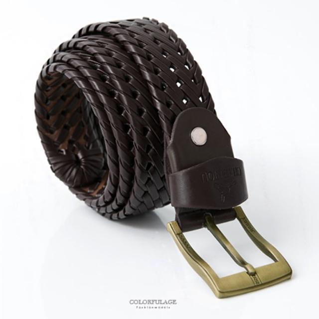 皮帶 編織皮革銅色扣頭腰帶(玖飾時尚)