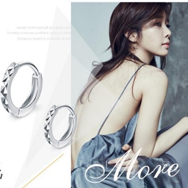 【梨花HaNA】925銀簡約米字花圈型耳環
