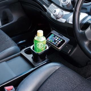 【亞克科技】日本YAC 大容量飲料架付防滑托盤PZ-699(汽車|收納置物|手機架)