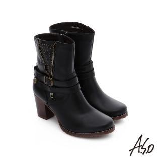 【A.S.O】保暖靴 鉚釘拉鍊釦飾粗跟短靴(黑)