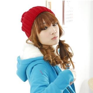 【Lady c.c.】Q蓬球球厚織俏皮毛帽(紅)