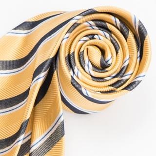 【極品西服】紳士經典100%絲斜紋領帶_ 黃籃白條紋(YT5005)