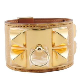 【HERMES】collier de chien金屬鉚釘鱷魚皮寬版手環T年(黃x金/S)