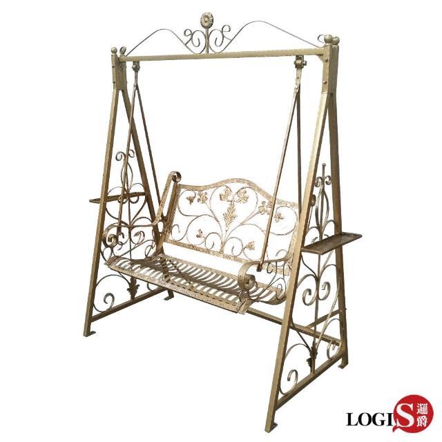 【邏爵LOGIS】蕾特艾雙人雕花鑄鐵戶外休閒鞦韆(搖椅 秋千)