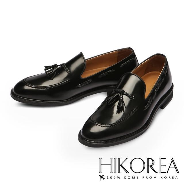 【HIKOREA韓國休閒鞋】正韓空運。優質皮革流蘇編織尖頭皮鞋(73-253黑/現+預)