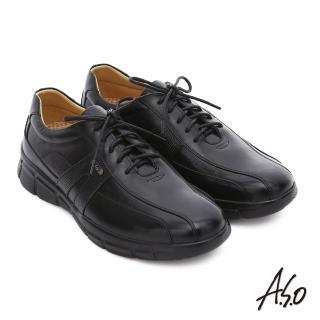 【A.S.O】輕旅健步 真皮綁帶奈米氣墊皮鞋(黑)