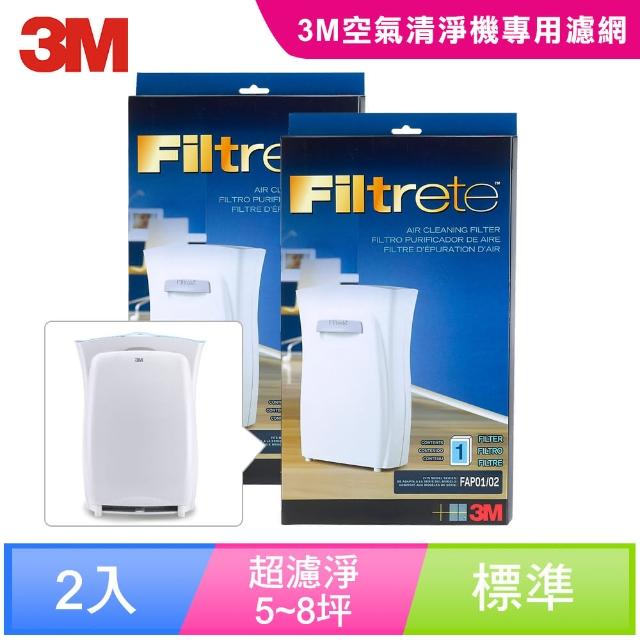 【3M】淨呼吸空氣清靜機超濾淨型專用濾網-5坪8坪適用(2入超值組)
