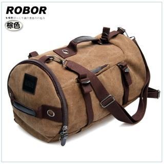 【韓系型男ROBOR】衝鋒時尚多功能帆布筆電後背/旅行袋(棕色)