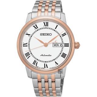 【SEIKO】精工 Presage 羅馬經典機械腕錶-白x雙色版/40mm(4R36-04E0G  SRP766J1)