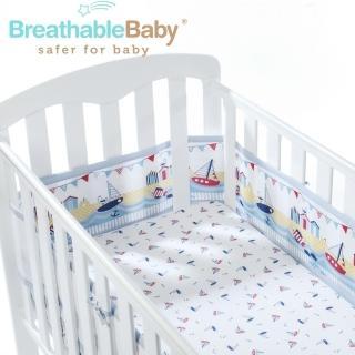 【英國 BreathableBaby】透氣嬰兒床圍 全包型(18431海洋帆船款)