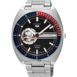 【SEIKO】精工 5號尊者鏤空機械腕錶-黑/44mm(4R38-01K0D  SSA329J1)
