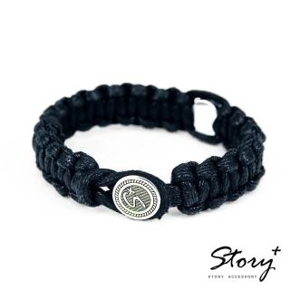 【STORY ACCESSORY】創客系列-經典銀釦編織手環 粗繩款(藏青色)