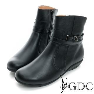 【GDC】個性-雙繞帶拉鍊楔型低跟真皮短靴-黑色(629126)