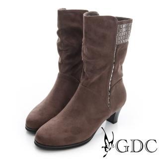 【GDC】個性-絨布真皮水鑽拉鍊粗跟中筒靴-可可色(626480)