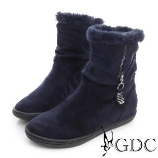 【GDC】溫暖-兩穿真皮絨面拉鍊中筒靴-藍色(626423)