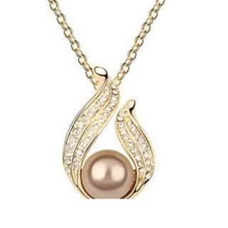 【米蘭精品】項鍊珍珠流行飾品(鑲鑽絢麗珍珠美人母親節情人節生日禮物3色73aj121)