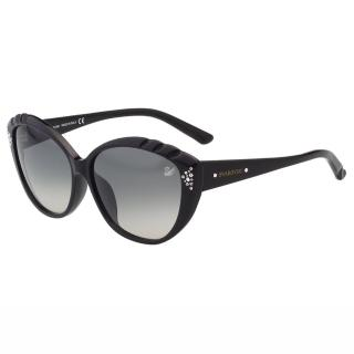 【SWAROVSKI】-貓眼水鑽 太陽眼鏡SW9056(黑色)