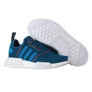 【Adidas】Originals NMD R1系列潮流織紋網面慢跑鞋(藍色/藍白)