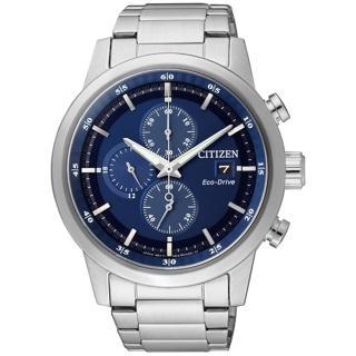 【CITIZEN星辰】Eco-Drive光動能 時尚簡約三眼計時腕錶-銀藍/ 43mm(CA0610-52L)