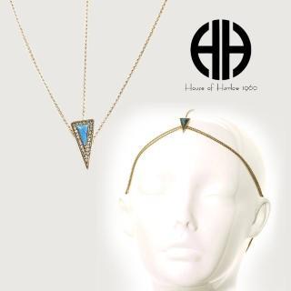【House of Harlow 1960】好萊塢品牌 三角形土耳其藍石 鑲白水晶 金色頭飾(頭飾)