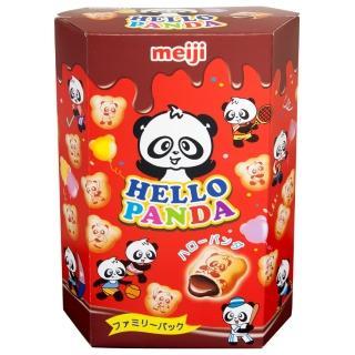 【Meiji 明治】HELLO PANDA 貓熊夾心餅乾-巧克力口味175g(夾心餅乾)