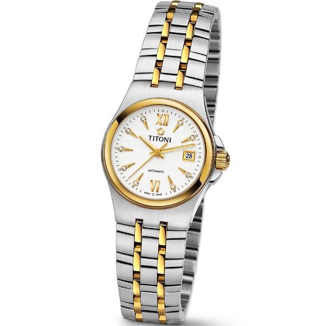 【TITONI 瑞士梅花錶】Impetus 動力系列-白色錶盤不�袗�間金色錶帶/27mm(23730 SY-271)