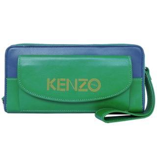 【KENZO】前口袋雙色ㄇ字拉鍊長夾 附手掛帶(藍綠)