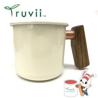 【Truvii】月光白黃連木柄琺瑯杯 400ml