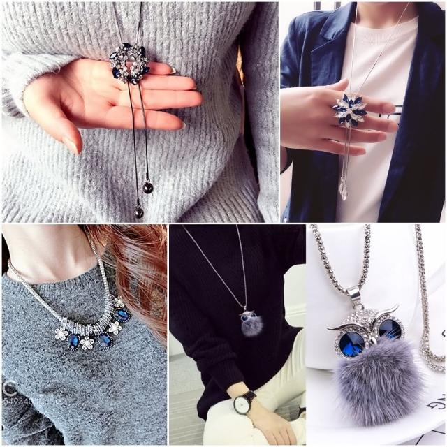【梨花HaNA】特惠價藍色水晶寶石項鍊$298