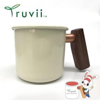 【Truvii】月光白紫心木柄琺瑯杯 400ml