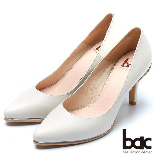【bac】時尚品味 魅力迷人水鑽鞋跟高跟鞋(米色)