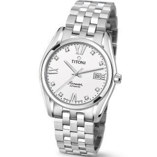 【TITONI 瑞士梅花錶】Airmaster 空中霸王系列-白色錶盤不鏽鋼錶帶/38.5mm(83909 S-063)