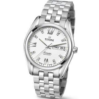 【TITONI 瑞士梅花錶】Airmaster 空中霸王系列-白色錶盤不鏽鋼錶帶/40mm(93709 S-385)
