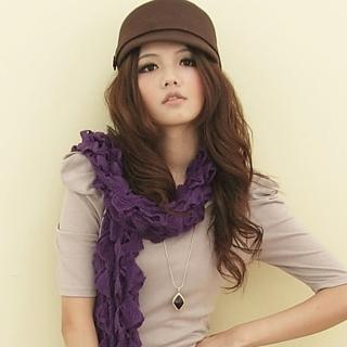 【I-shi】暖呼呼-毛線泡泡厚款圍巾(紫)