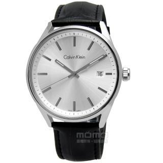 【Calvin Klein】FORMALITY   旅幻時空 日期壓紋皮革腕錶 灰色 43mm(K4M211C6)