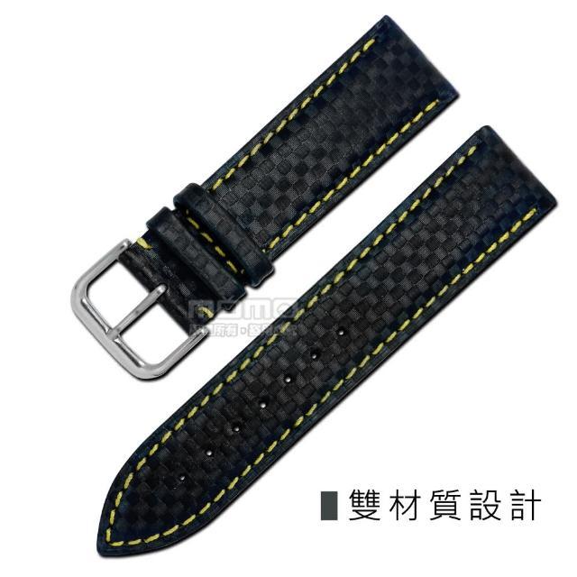 【Watchband】時尚指標仿碳纖維雙材質錶帶(黑黃色)