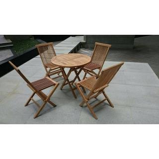 【BROTHER兄弟牌】印尼柚木80cm折疊圓桌+古典柚木折疊椅(一桌四椅)