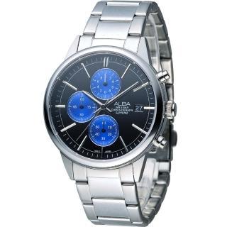 【ALBA 雅柏】街頭酷流行系列時尚三眼計時腕錶(VD57-X079B  AM3333X1)