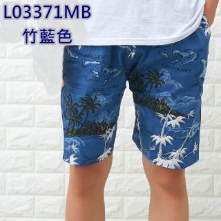 【NBL】L03371韓版鬆緊帶寬鬆印花休閒海灘短褲(寬鬆清涼舒適速乾印花休閒)