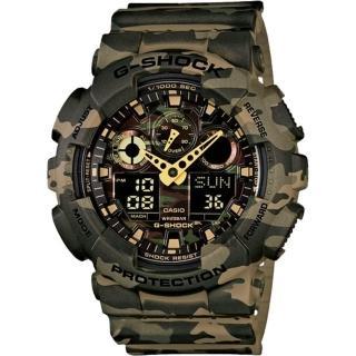 【CASIO】G-SHOCK 街頭時尚迷彩圖樣雙顯錶(GA-100CM-5A)