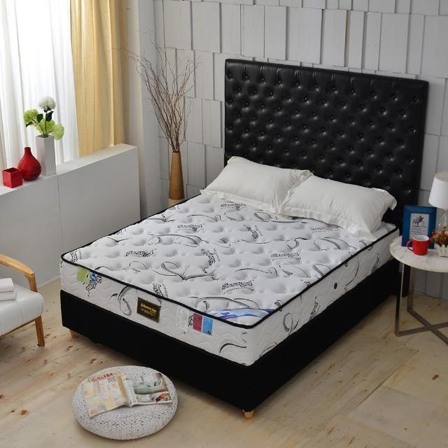 【A+愛家】瑞士Sanitized涼感長效型抗菌除臭(側邊強化獨立筒床墊-雙人加大6尺-厚麵包床)