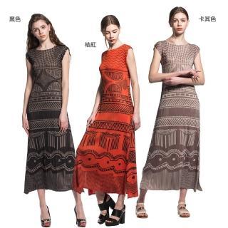 【玩美衣櫃】異國民族風格壓摺長款洋裝(共三色)
