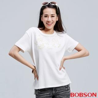 【BOBSON】女款短袖刺繡上衣(白26082-81)