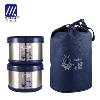【三光牌】蘇香不鏽鋼保溫便當盒/食物罐 雙入組 0.5L*2(KK-1000B 紅或藍)