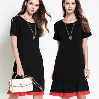 【麗質達人中大碼】2683黑紅拼色時尚洋裝(M-5XL)
