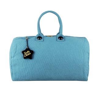 【See by Chloe】經典LOGO字樣輕薄帆布拉鍊手提標準型旅行包(大/蔚藍色)